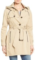 French Connection Women's Single Breasted Skirted Trench Coat With Removable Hood
