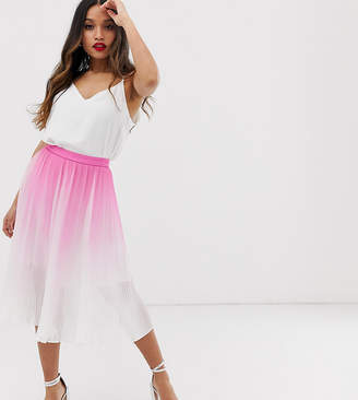 Chi Chi London Petite pleated midi skirt in pink two-piece