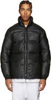 Stone Island Black Down Leather Jacket