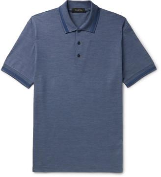 Ermenegildo Zegna Contrast-Tipped Cotton And Silk-Blend Polo Shirt