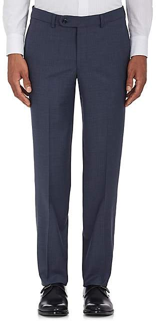 Barneys New York MEN'S VOYAGER WOOL-BLEND FLAT-FRONT TROUSERS - BLUE SIZE 40