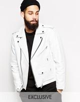 Reclaimed Vintage Inspired Leather Biker Jacket In White