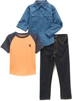English Laundry Blue Plaid Button-Up Set - Infant, Toddler & Boys