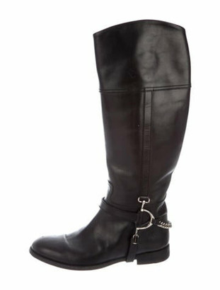 Ralph Lauren Purple Label Leather Chain-Link Accents Riding Boots Purple