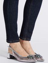 Marks and Spencer Block Heel Jewel Slingback Court Shoes