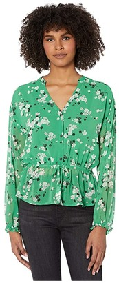 Cupcakes And Cashmere Leona 'Good Luck Floral' Crinkle Chiffon Cinch Waist Blouse (Shamrock) Women's Clothing