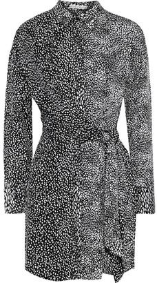 Alice + Olivia Jodi Wrap-effect Leopard-jacquard Mini Shirt Dress