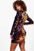 boohoo Becca Multi Coloured Sequin Bodycon Dress