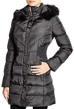 Via Spiga Faux Fur Trim Hooded Puffer Jacket