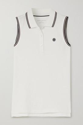 Tory Sport Appliqued Striped Cotton-blend Pique Top - White