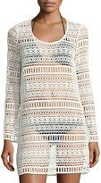 Tavik Freedom Long-Sleeve Crochet Coverup, White