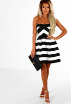 Pink Boutique Follow My Lead Black And White Stripe Skater Dress