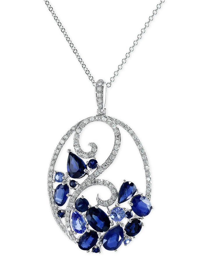 Effy Sapphire (3-3/4 ct. t.w.) and Diamond (1/3 ct. t.w.) Pendant Necklace 14k White Gold