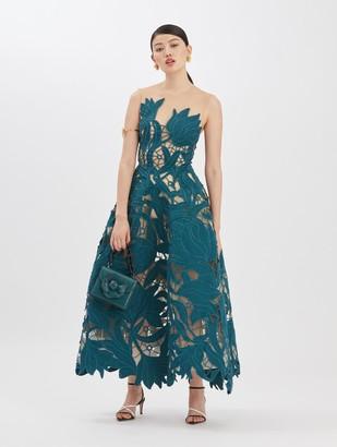Oscar de la Renta Embroidered Moire Peacock Dress