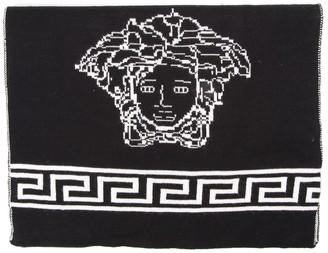 Versace Medusa Black Wool & Silk Scarf