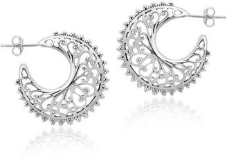 Aeravida Handmade intage Filigree Swirls Sterling Silver Crescent Moon Shaped Hoop Earrings