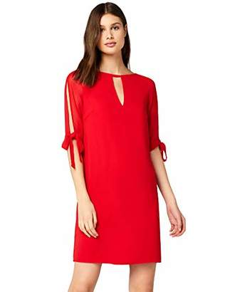 TRUTH & FABLE Sheer Sleeve Tunic Dress Evening (Red), 8 (Size:XS)