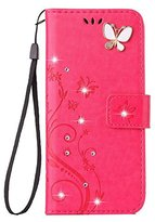 Auroralove iPhone 5/5s/se Luxury Handmade Bling Rhinestone Soft Slim Flip Stand Wallet Case for iPhone 5/5s/se Flower Butterfly PU Leather Case for Girls Women-Rose Red