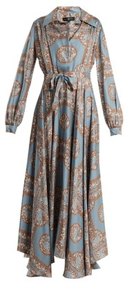 Edward Crutchley Tie-waist Monkey-print Silk Dress - Womens - Blue Multi