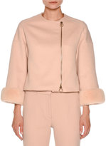 Agnona Mink-Cuff Asymmetric-Zip Short Jacket, Nude White