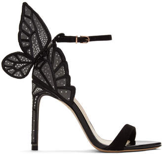 Sophia Webster Black Suede Chiara Heeled Sandals