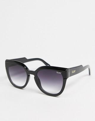 Quay Noosa Bevel womens cat eye sunglasses in black