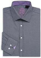 English Laundry Men's Textured Cotton Dress Shirt