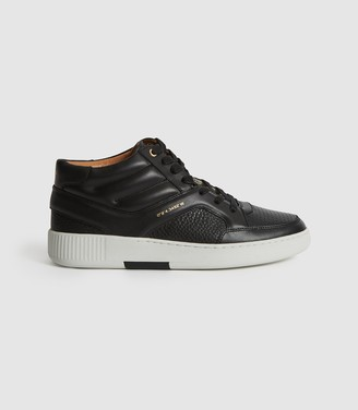 Reiss GRENDON LEATHER HIGH-TOP TRAINERS Black