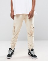Asos Skinny Joggers With Cargo Pockets In Light Beige