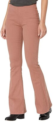 Rock and Roll Cowgirl High-Rise Pull-On Flare in Dusty Rose W1P6156