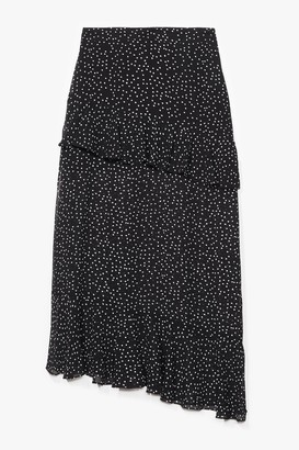 Nasty Gal Womens Don't Even Care Asymmetric Polka Dot Skirt - Black - 6
