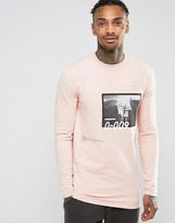 Asos Longline Muscle Sweatshirt With Photographic & Text Print