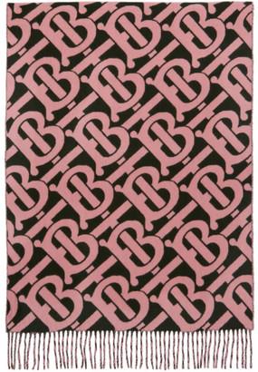 Burberry Pink Cashmere Monogram Scarf