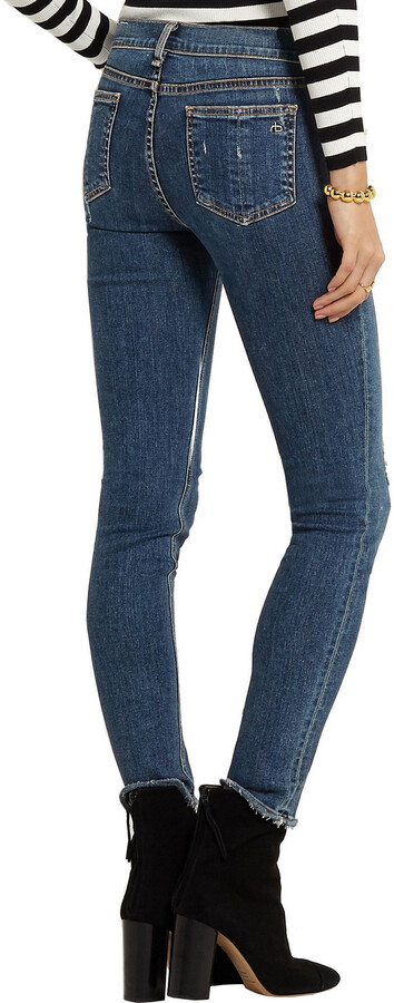 Thumbnail for your product : Rag & Bone The Skinny Distressed Low-rise Skinny Jeans