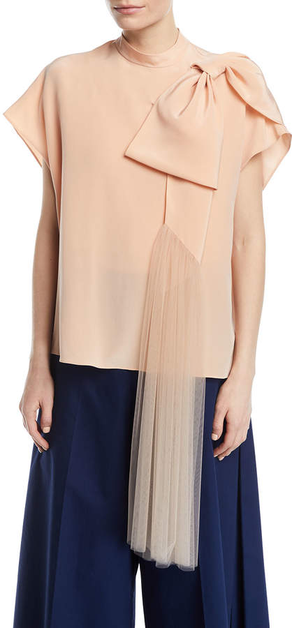 DELPOZO Short-Sleeve Silk Top w/ Tulle Bow