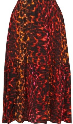 Stella McCartney Tanya Gathered Printed Silk Crepe De Chine Midi Skirt