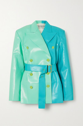 ROWEN ROSE Belted Double-breasted Two-tone Faux Leather Blazer - Green