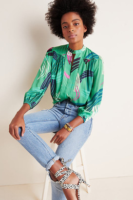 Adeline Paint-Swiped Blouse By The Odells in Green Size XS