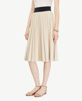 Ann Taylor Petite Pleated Faux Leather Skirt