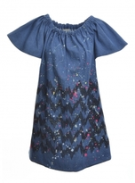 Simeon Farrar Denim Gather Dress in Hand Painted Blue