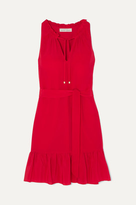 Heidi Klein Ruffled Silk Crepe De Chine Mini Dress - Red