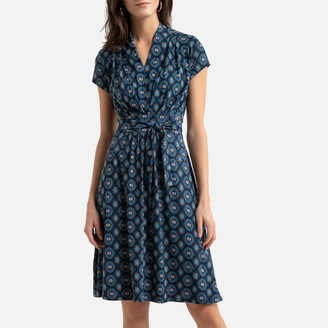 Anne Weyburn Printed Flared Mid-Length Dress with Short Sleeves