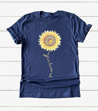 Party On! Women's Tee Shirts Navy - Navy 'Sunshine' Sunflower Crewneck Tee - Women