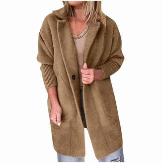 Kalorywee Coats KaloryWee Ladies Coats and Jackets Womens Long Sleeve Faux Fur Fluffy Fleece Notch Collar Plus Size Warm-Up Outerwear Cardigan with Pockets Brown