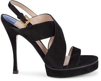 Stuart Weitzman Hester Suede Platform Slingback Sandals