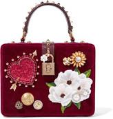 Dolce & Gabbana Dolce Box Leather-trimmed Embellished Velvet Clutch - Burgundy