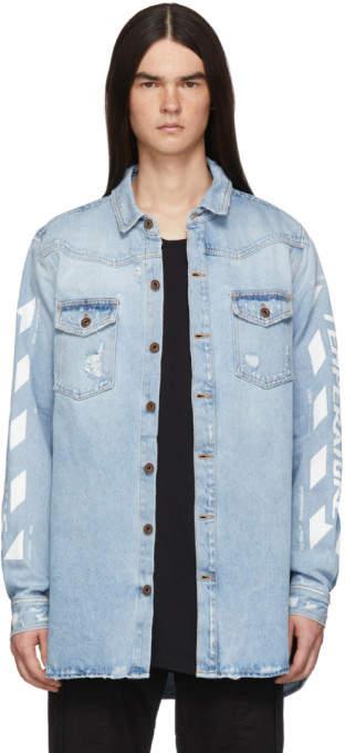 Off-White Off White SSENSE Exclusive Blue Denim Temperature Shirt