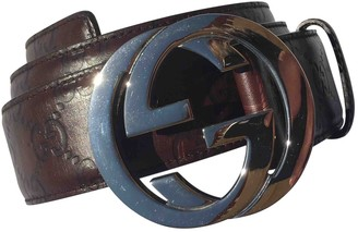 Gucci Interlocking Buckle Brown Leather Belts