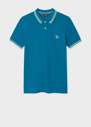 Paul Smith Men's Slim-Fit Teal Zebra Logo Supima Cotton Polo Shirt With Mint Tipping