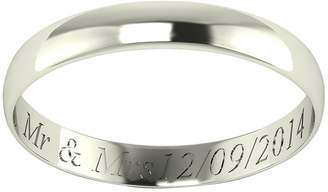 Love Gold Personalised 9 Carat White Gold D-Shaped Wedding Band 3mm
